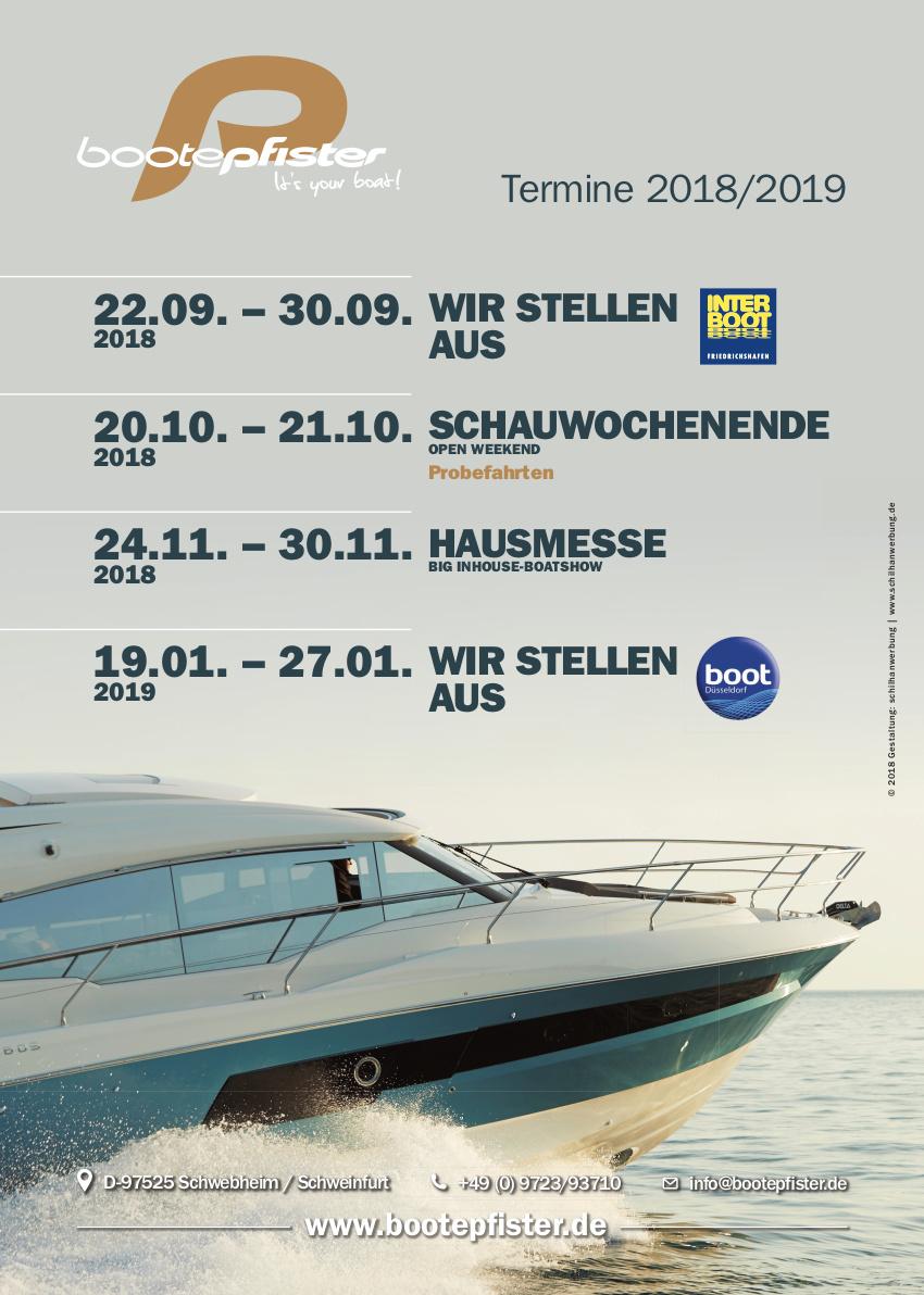 Bootsmessen und Hausmessen 2018 und 2019 bei Bootepfister